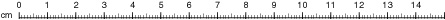 Regla lineal ordinaria, calibrada en cm.