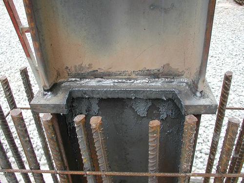 Detalle construcción de pilar mixto