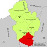 Localización de Alcora respecto a la comarca del Alcalatén