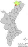 Localización de Castellfort respecto al País Valenciano