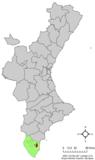 Localización de Rojales respecto a la Comunidad Valenciana