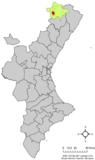 Localización de Cinctorres respecto a la Comunidad Valenciana
