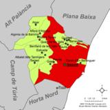 Localización de Sagunto respecto a la comarca del Campo de Murviedro