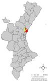 Localización de Sagunto respecto a la Comunidad Valenciana