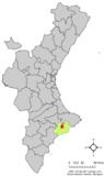 Localización de Benimantell respecto a la Comunidad Valenciana