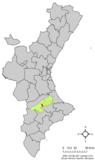 Localización de Agullente respecto al País Valenciano