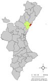 Localización de Burriana respecto a la Comunidad Valenciana