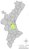Localización de Montroy en la Comunidad Valenciana