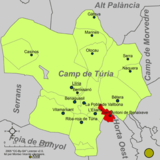 Localización de San Antonio de Benagéber respecto a la comarca del Campo de Turia