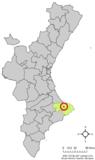 Localización de Benidoleig respecto a la Comunidad Valenciana