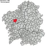 Localización de Santiago respecto a la Comunidad Gallega