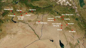 Assur y principales lugares Asirios