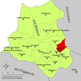 Localización de Argelita respecto a la comarca del Alto Mijares
