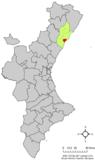Localización de Benicasim respecto a la Comunidad Valenciana