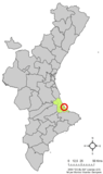 Localización de Miramar respecto a la Comunidad Valenciana