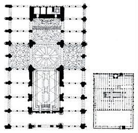 Planta de la catedral incorporada a la mezquita.