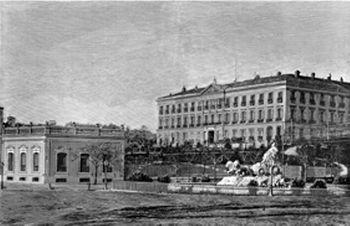 El Palacio de Buenavista, en un grabado de 1880. En primer término, se sitúa la Fuente de Cibeles, en su primitivo emplazamiento.
