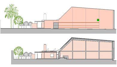 fachada este y sección transversal