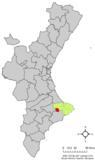 Localización de Castell de Castells respecto a la Comunidad Valenciana