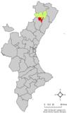 Localización de Culla respecto al País Valenciano
