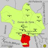 Localización de Ribarroja del Turia respecto a la comarca del Campo de Turia