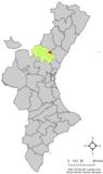 Localización de Algimia de Almonacid respecto a la Comunidad Valenciana