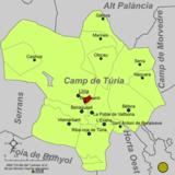 Localización de Benisanó respecto a la comarca del Campo de Turia