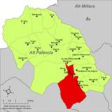 Localización de Segorbe respecto a la comarca del Alto Palancia