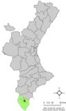 Localización de Almoradí respecto a la Comunidad Valenciana