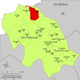 Localización de Pina de Montalgrao respecto a la comarca del Alto Palancia