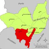 Localización de Culla respecto a la comarca del Alto Maestrazgo
