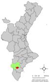 Localización de Aspe respecto a la Comunidad Valenciana