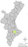 Localización de Alfafara respecto a la Comunidad Valenciana