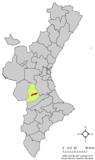Localización de Bolbaite respecto a la Comunidad Valenciana