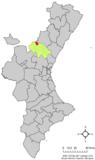 Localización de Pina de Montalgrao respecto al País Valenciano