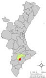 Localización de Tibi respecto a la Comunidad Valenciana