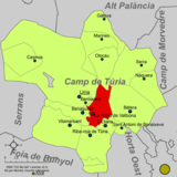 Localización de Puebla de Vallbona respecto a la comarca del Campo de Turia