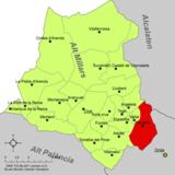 Localización de Fanzara respecto a la comarca del Alto Mijares