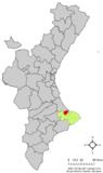 Localización de Pego respecto a la Comunidad Valenciana