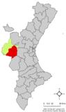 Localización de Requena respecto a la Comunidad Valenciana