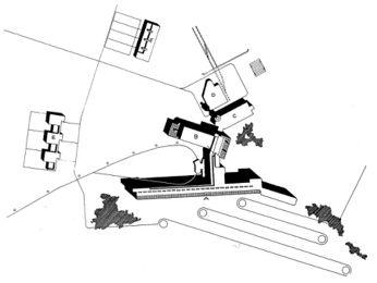 A.- Habitaciones de los enfermos y galería. B.- Salas comunes. C.- Cocina, calefacción. D.- Garajes. E.- Casas de los médicos. F.- Casas de los empleados.