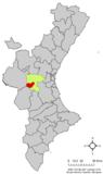 Localización de Yátova respecto al País Valenciano