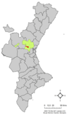 Localización de Benaguacil respecto a la Comunidad Valenciana