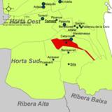 Localización de Albal respecto a la comarca de l'Horta Sud
