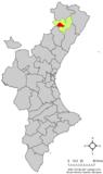 Localización de Benasal respecto a la Comunidad Valenciana