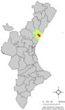 Localización de Nules respecto a la Comunidad Valenciana