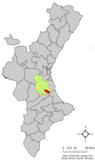Localización de Carcagente respecto a la Comunidad Valenciana