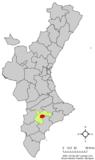 Localización de Ibi respecto a la Comunidad Valenciana