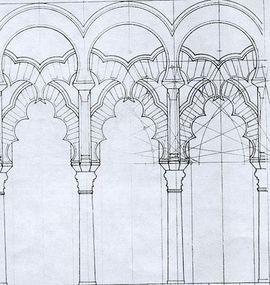 Traza geométrica del tramo de arcos cruzados delante del mirhab