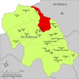 Localización de Caudiel respecto a la comarca del Alto Palancia